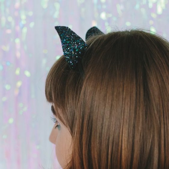 Galaxy Glitter Ears Headband back