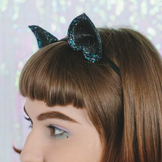 Galaxy Glitter Ears Headband detail