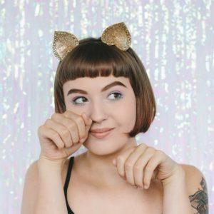 Gold Glitter Ears Headband front