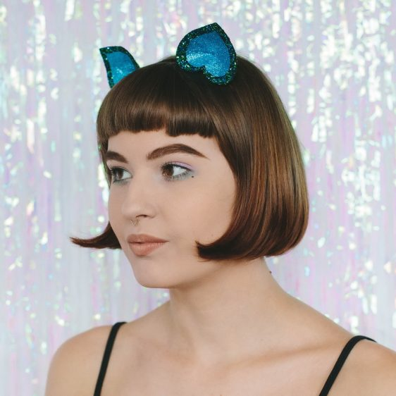 Peacock Glitter Ears Headband angle