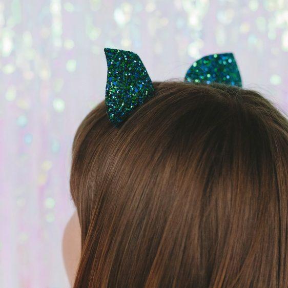Peacock Glitter Ears Headband back