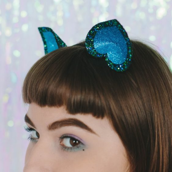 Peacock Glitter Ears Headband detail