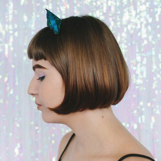 Peacock Glitter Ears Headband side
