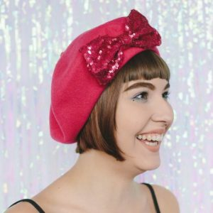 Pink Beret Pink Sequin Bow angle