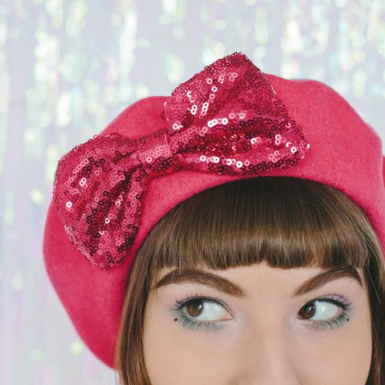 Pink Beret Pink Sequin Bow detail