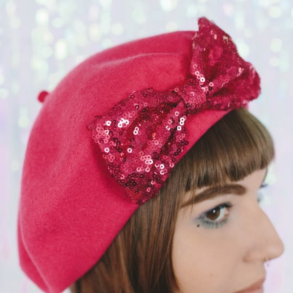 Pink Beret Pink Sequin Bow detail 2