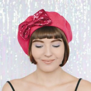 Pink Beret Pink Sequin Bow front