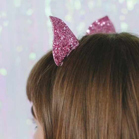 Pink Glitter Ears Headband back