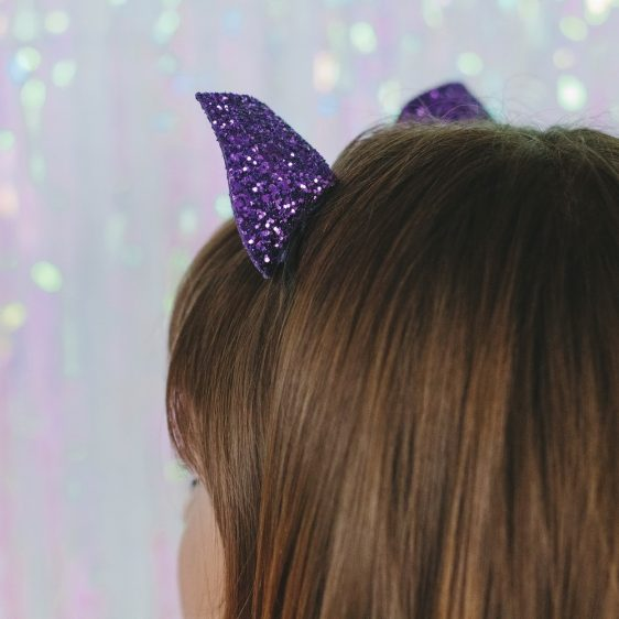 Purple Glitter Ears Headband back
