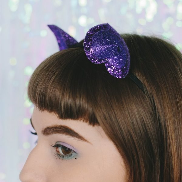Purple Glitter Ears Headband detail