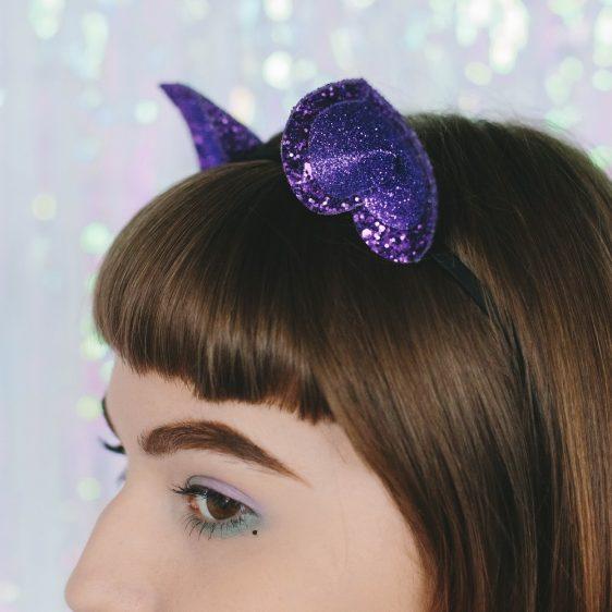 Purple Glitter Ears Headband detail