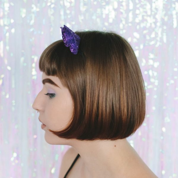 Purple Glitter Ears Headband side