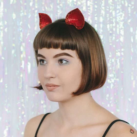 Red Glitter Ears Headband angle
