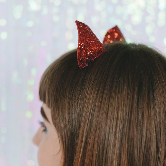 Red Glitter Ears Headband back