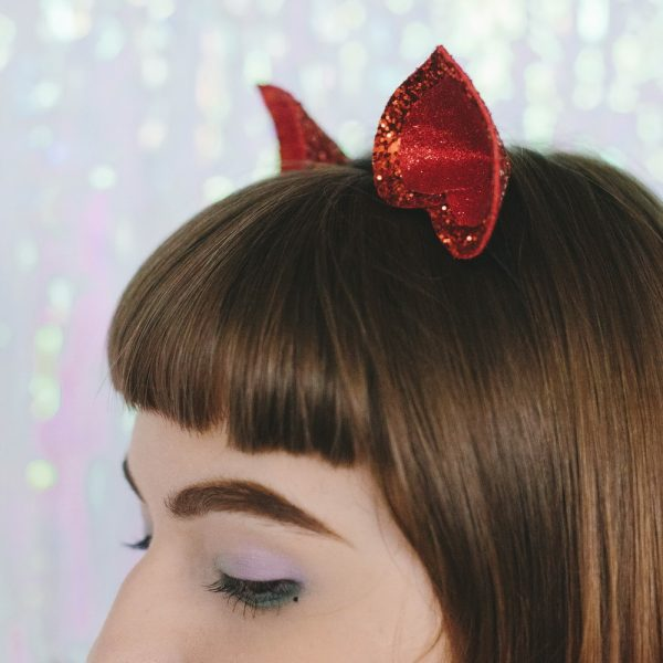 Red Glitter Ears Headband detail