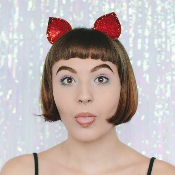 Red Glitter Ears Headband front