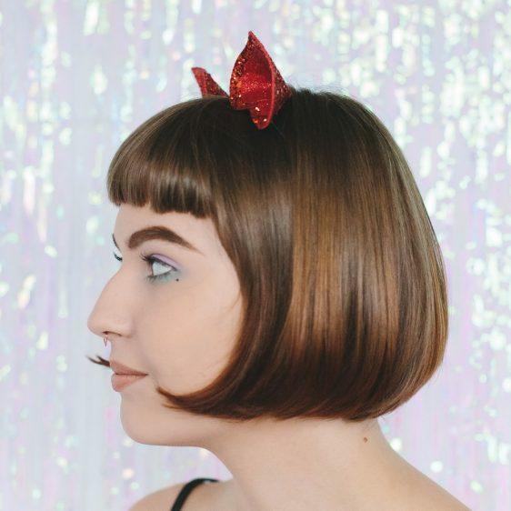 Red Glitter Ears Headband side