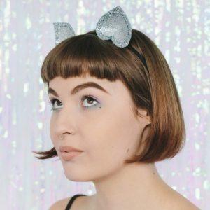 Silver Glitter Ears Headband angle