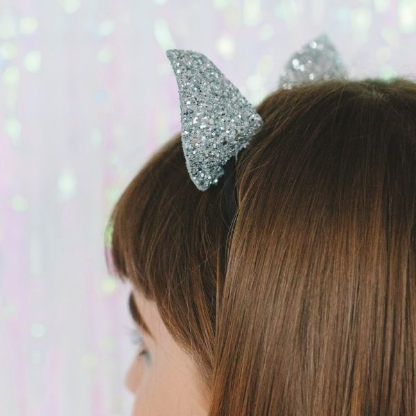 Silver Glitter Ears Headband back