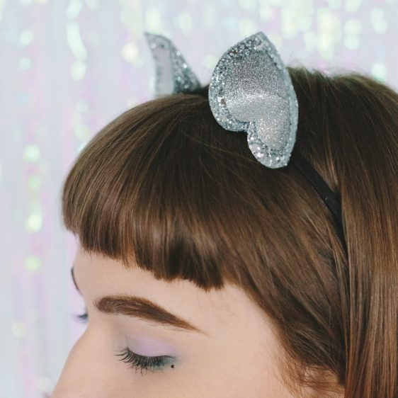 Silver Glitter Ears Headband detail