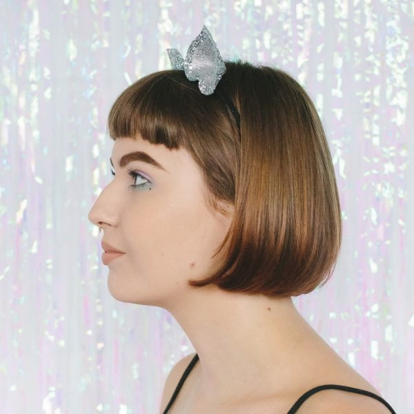 Silver Glitter Ears Headband side