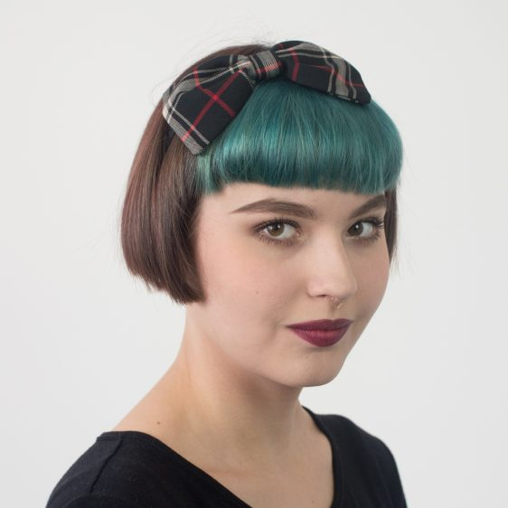 Black Tan Tartan Bow Headband