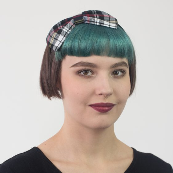 Black White Tartan Bow Headband