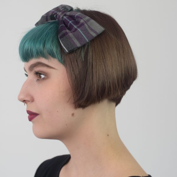 Purple Grey Tartan Bow Headband