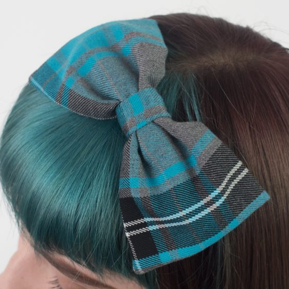 Turquoise Grey Tartan Bow Headband