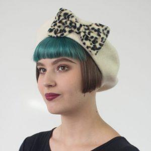Ivory Beret Leopard Fake Fur Bow