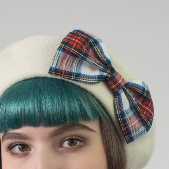 Ivory Beret White Red Blue Tartan Bow