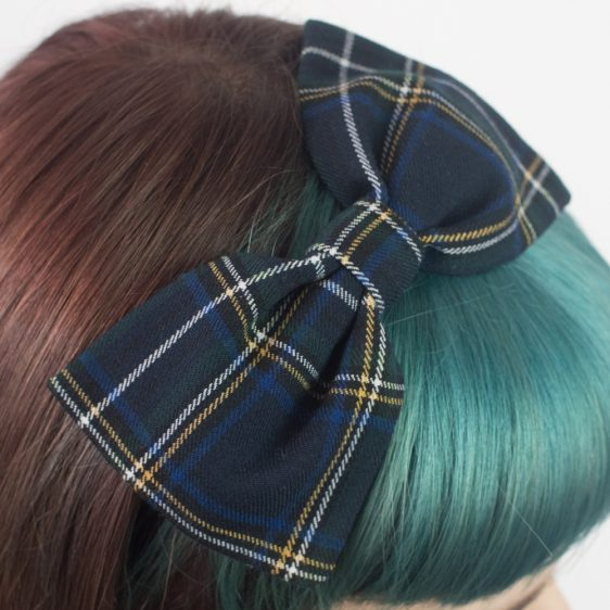 Navy White Tartan Bow Headband