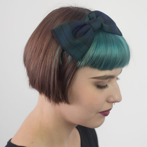 Navy Blue Green Tartan Bow Headband