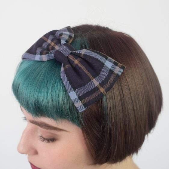 Purple Lilac Tartan Bow Headband