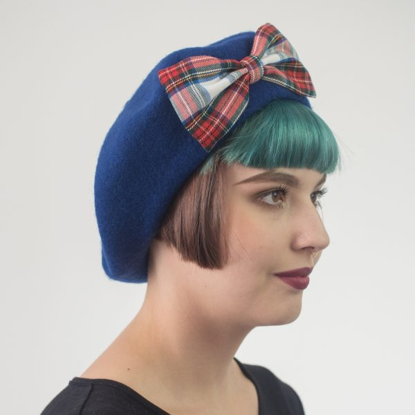 Blue Beret White Red Blue Tartan Bow