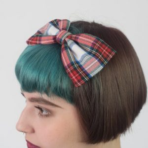 White Red Blue Tartan Bow Headband