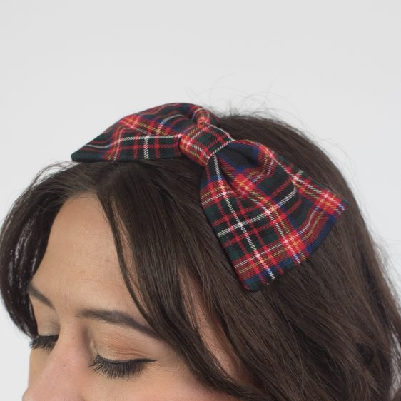Black Red Tartan Bow Headban