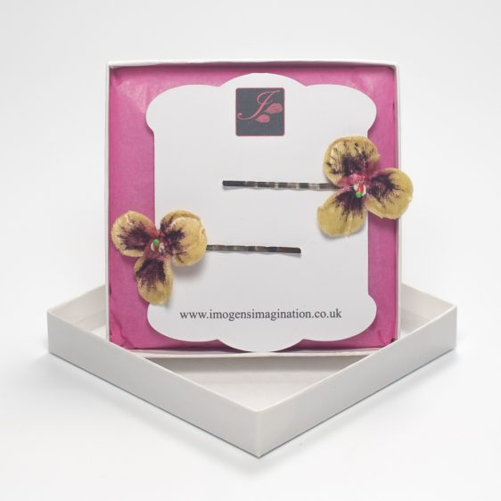 Gold Pansy Flower Hair Clips