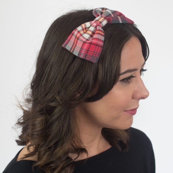 Coral Grey Tartan Bow Headband