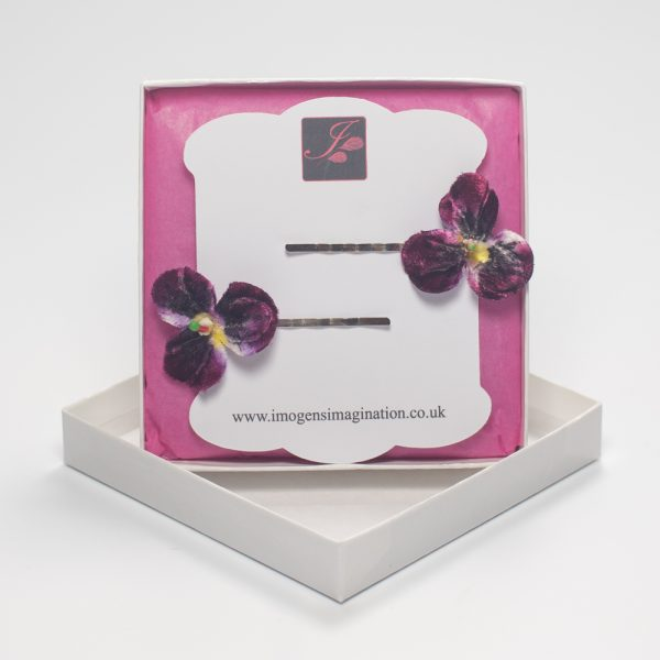 Dark Purple Pansy Flower Hair Clips