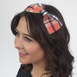 Navy Peach Tartan Bow Headband