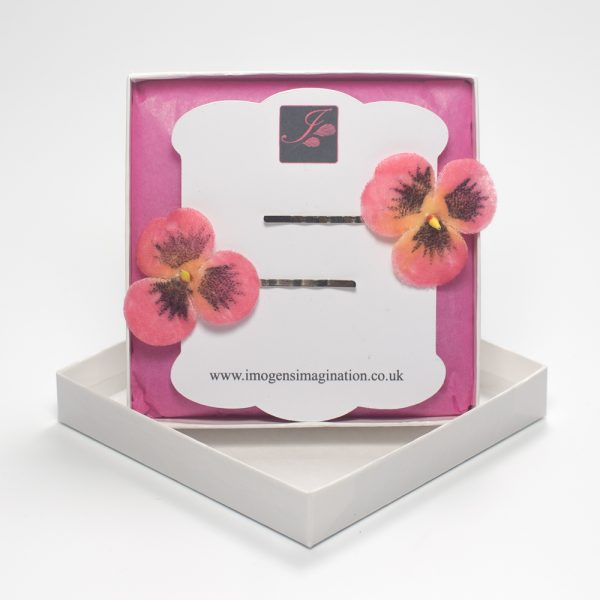 Peach Pansy Flower Hair Clips box