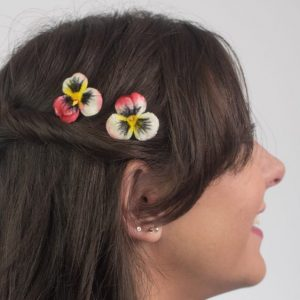 Peach White Pansy Flower Hair Clips