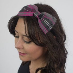 Pink Grey Tartan Bow Headband