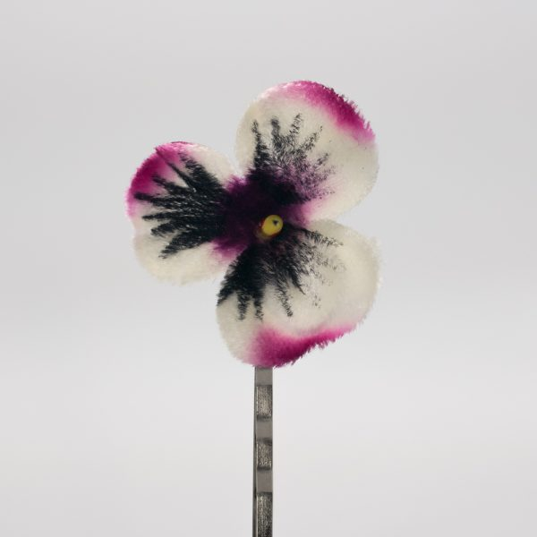Pink White Pansy Flower Hair Clips