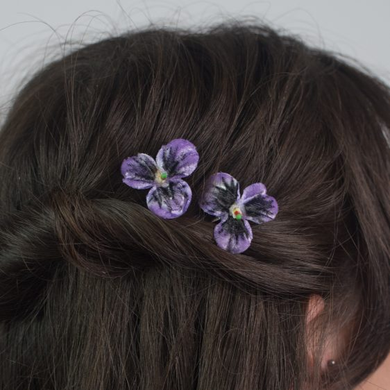 Purple Pansy Flower Hair Clips