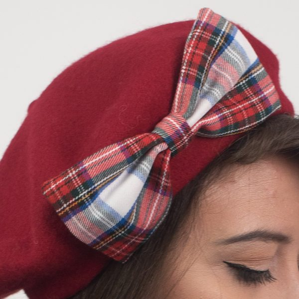 Red Beret White Red Blue Tartan Bow