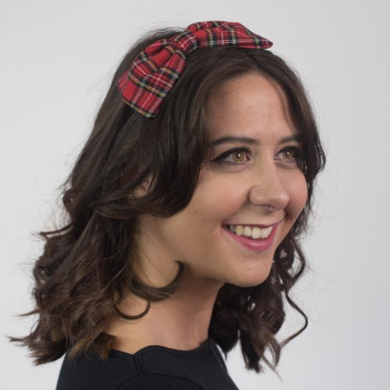 Red Black Tartan Bow Headband