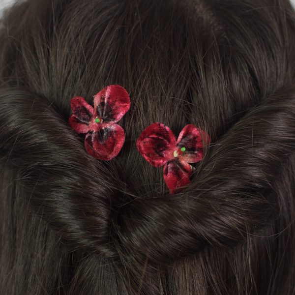 Dark Red Pansy Flower Hair Clips