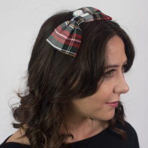 Red Black White Tartan Bow Headband